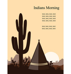 indian wigwam silhouette with saguaro cacti son vector image