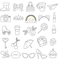 Isolated icons of glamor stickers and vector