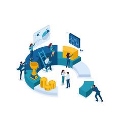 Isometric businessmen make a digital marketing vector