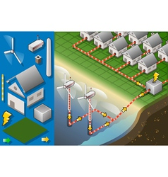 Isometric Houses with Offshore Wind Turbines vector