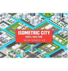 isometric set terminal airport transportation of vector image