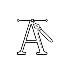 letter a and pen tool hand drawn outline doodle vector image