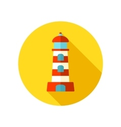 Lighthouse flat icon with long shadow vector image vector image
