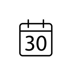 line calendar icon on white background vector image