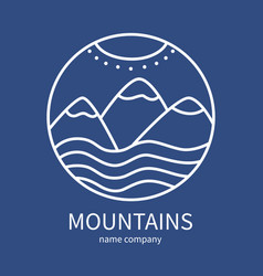 linear icon of landscape with mountains and sun vector image