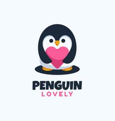logo penguin simple mascot style vector image