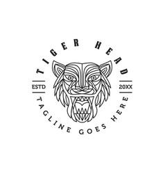 monoline tiger face head logo vector image