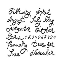 Months and dates hand drawing text vector