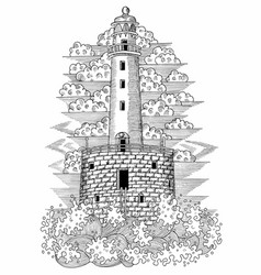 Old stone light house with big waves vector