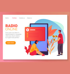 online radio and streaming music website banner vector image