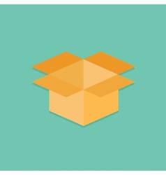 Opened yellow cardboard package box Flat design vector