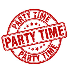 Party time red grunge round vintage rubber stamp vector