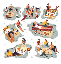 People gathered on picnic friends spending vector