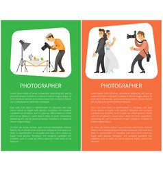Photographer profession and hobby bright banners vector
