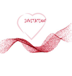 pink glitter texture wave border over white vector image