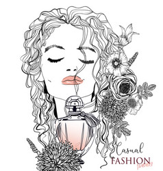 portrait of a young woman with perfume vector image