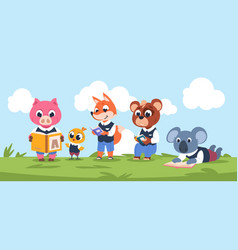 reading animal characters cute cartoon kids vector image