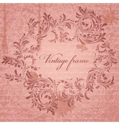 Retro background with antique floral frame vector image