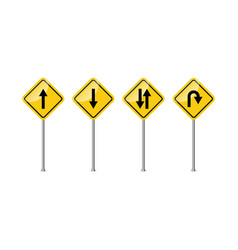 road sign warning curves and turns vector image