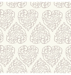 Seamless pattern with hand drawn doodle hearts vector image