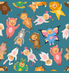 seamless pattern with of kids in vector image