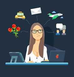 Secretary sit on the workplace available in vector