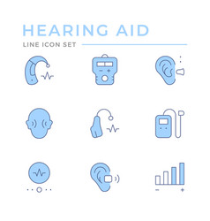 set color line icons hearing aid vector image