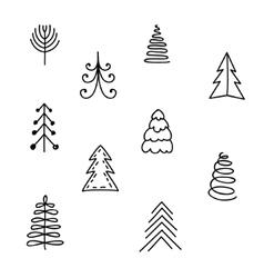 set hand drawn christmas tree vector image