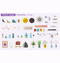 Set of accessories for home interior vector