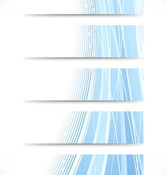 Set of theme cards with blue waves vector