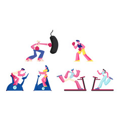 set women and men training in gym on exercise vector image