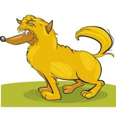 Shaggy yellow dog vector