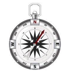 Silver compass for travels and outdoorsman vector