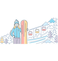 Ski resort - colorful line design style vector