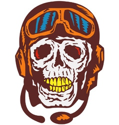Skull Face Pilot Airman vector