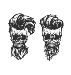 skull with hair beard and mustache vector image