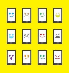 smart phone emotion icon - emoji vector image