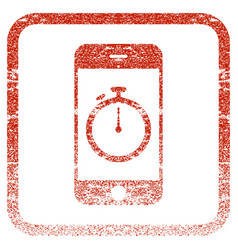 stopwatch gadget framed textured icon vector image
