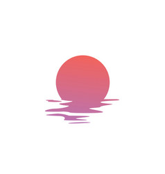 Sunset logo icon sea gulf coast vector