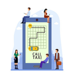 taxi online mobile application people order taxi vector image