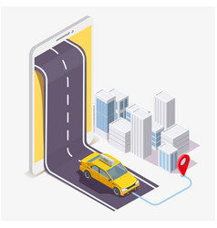 taxi service mobile application flat vector image