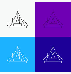 Tent camping camp campsite outdoor icon over vector