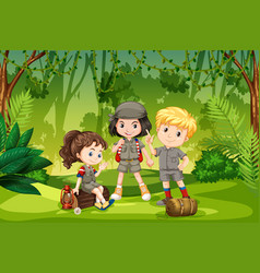 Three scout kids in the jungle vector