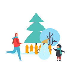 trees and people winter season holiday vector image