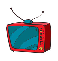Vintage tv color icon with a black outline on a vector