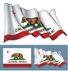Waving flag of the state of california vector