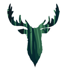 Wild deer head silhouette vector