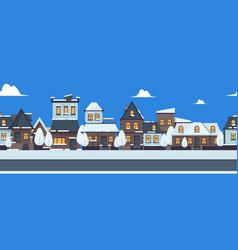Winter street banner cute snowy houses seamless vector