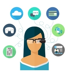 Woman wearing glasses augmented reality Flat icon vector