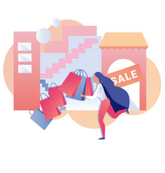 Woman with lots shopping bags grand sale banner vector